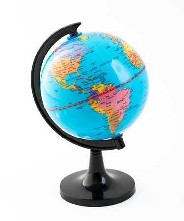 The globe over a white background  Spherical representation of the planet earth  photo