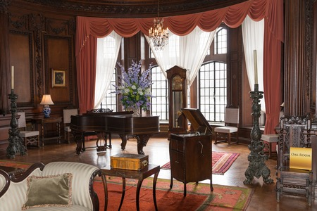 TORONTO, CANADA-MARCH 8, 2014: Interior design and decoration of: Casa Loma  one of Torontos top ten tourist attractions. Around 300,000 visitors tour Casa Loma and the Estate Gardens each year.