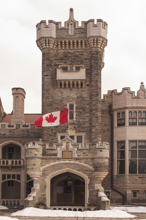 tourist attractions: TORONTO,CANADA-MARCH 8, 2014:  Casa Loma is one of Torontos top ten tourist attractions. Around 300,000 visitors tour Casa Loma and the Estate Gardens. Image filtered for effect.