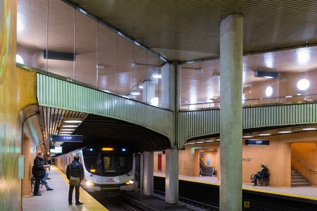TORONTO,CANADA-MARCH 8, 2014: Dupont Station . Toronto has one of the largest transit systems in the country with easy access to the public. Nowadays the system is being modernized and expanded