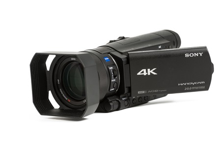 shooters: TORONTO, CANADA-APRIL 4,2014: The new Sony AX100 camcorder  shoots 4K video and has a host of other awesome sounding specs to attract video shooters. Editorial