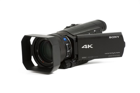 TORONTO, CANADA-APRIL 4,2014: The new Sony AX100 camcorder  shoots 4K video and has a host of other awesome sounding specs to attract video shooters.