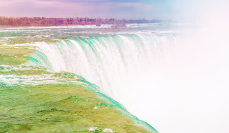 Niagara falls is, one of the main tourist attraction in Ontario and Canada in color effect photo