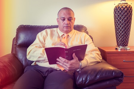 Man of God teaching the Bible or the word of God to others  Image with effects for special mood or feel Stock Photo