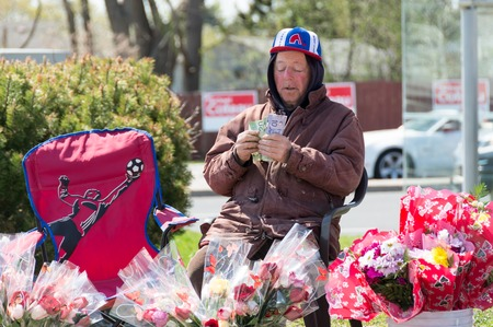 TORONTO,CANADA-MAY 11, 2014: Senior citizen selling flowers and counting money in the streets of Toronto during Mothers Day. Canada�s elderly poverty rate rose between the mid-1990s and late 2000s.