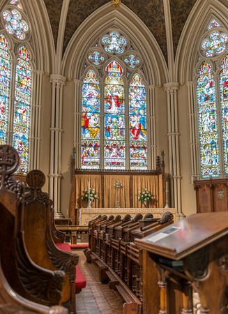 nave: Inside St  James Cathedral in Toronto  This church is the home of the oldest congregation in the city  The parish was established in 1797  It  is a prime example of Gothic Revival architecture