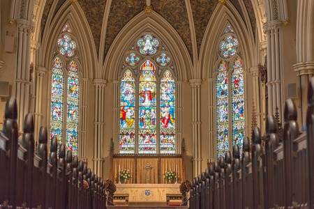 Inside St  James Cathedral in Toronto  This church is the home of the oldest congregation in the city  The parish was established in 1797  It  is a prime example of Gothic Revival architecture