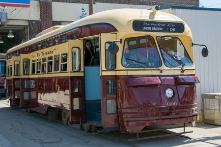 TORONTO,CANADA-MAY 24,2014  Vintage TTC streetcars part of Toronto heritage and conserved at Russell Carhouse  The Russell Carhouse houses approximately half the TTC