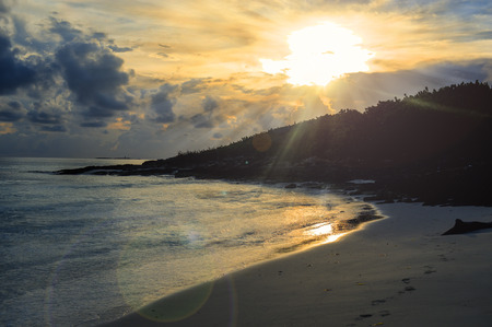 Beautiful sunrise in a Cuban beach during a vacation in the Caribbean Stok Fotoğraf