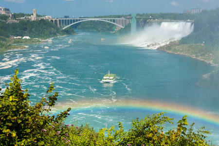 the edge of horseshoe falls: Beautiful Niagara Falls cascades seen from the Canadian side, water falling or constantly flowing in Niagara River Stock Photo