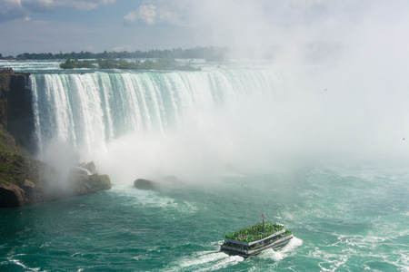 the edge of horseshoe falls: Beautiful Niagara Falls cascades seen from the Canadian side, water falling or constantly flowing in Niagara River Editorial