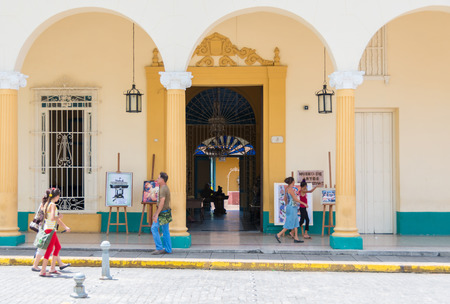 martha: SANTA CLARA,CUBA-AUGUST 17,2014: Entrance to the Decorative Arts Museum, landmark and a tourist attraction. The house was owned by Luis Estevez, husband of the city benefactor Martha Abreu.