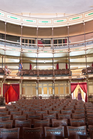 CIENFUEGOS,CUBA-AUGUST 28, 2014: Interior of the Terry Theater or Teatro Terry which a National Monument. It is a Coliseum at the Italian way with four floors in the shape of a horseshoe.