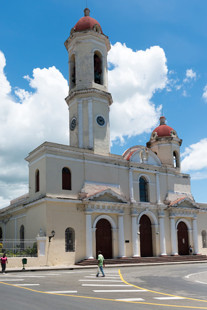 CIENFUEGOS,CUBA-AUGUST 28, 2014: Catholic Church located in the Jose Marti Plaza. The plaza has many architectural valuable buildings part of the Cuban heritage. Editorial