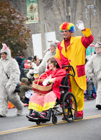 televised: Toronto,Canada-November 16, 2014: The Toronto Santa Claus Parade is a Santa Claus parade held annually in mid-November in Toronto, Ontario, Canada. More than a half million people attend the parade every year. The televised parade starts after noon and la