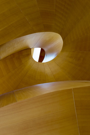 put together: Wood abstract of a constructed staircase put together piece by piece Stock Photo