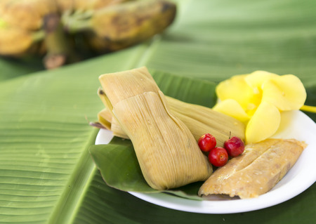 Cuban cuisine: traditional homemade tamal a popular Latin American dish which takes lot of hard work to prepare