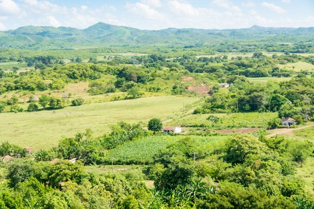 caribbean climate: Beautiful green and blue of the Cuban countryside, tropical climate in the Caribbean Island