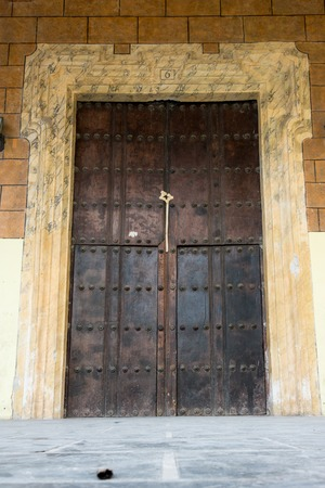 large doors: Architectural details of Old Havana, old vintage Spanish colonial large doors   Stock Photo