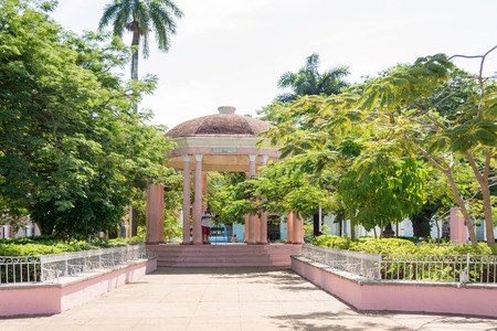 17th: Gazebo in the Isabel II plaza: Miscellaneous scenes of the colonial city of Remedios which is a  National Historic Monument where 17th century Spanish architecture can still be found intact.