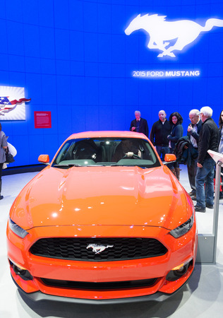 mustang gt: Ford Mustang I4 as seen in the Canadian International Auto Show. The CIAS is the  largest automotive show held annually at the Metro Toronto Convention Centre