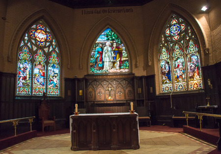 liturgical: Beautiful stained glass windows at the Church of the Redeemer in downtown Toronto