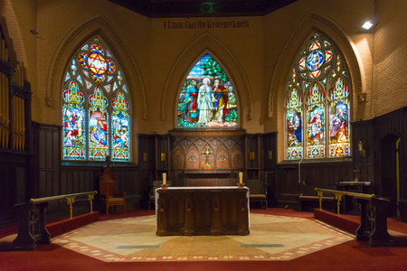 liturgical: Beautiful stained glass windows at the Church of the Redeemer in downtown Toronto. Editorial
