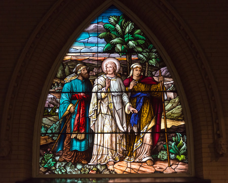 stained glass windows: Jesus on the Road to Emmaus: Beautiful stained glass windows at the Church of the Redeemer in downtown Toronto Editorial