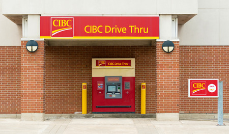 money market: CIBC Drive Through ATM; The Canadian Imperial Bank of Commerce, commonly CIBC, is one of Canada Stock Photo
