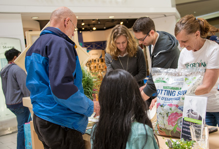 minimize: Reground Organics is a new Canadian company using coffee ground in different horticultural products to minimize the environmental impact of manufacturing and our coffee consumption  Today, they were promoting their sustainable potting soil at Eglinton Squ Editorial