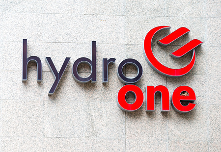 Hydro One sign in the building headquarters wall, the Liberal Government of Kathleen Wynne announced that will sell sixty percent of Hydro One stake as part of a plan to reduce and eliminate the province budget deficit.