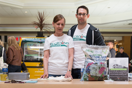 organics: Reground Organics is a new Canadian company using coffee ground in different horticultural products to minimize the environmental impact of manufacturing and our coffee consumption  Today, they were promoting their sustainable potting soil at Eglinton Squ Editorial