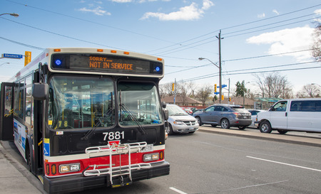 way out: Out of service TTC bus due to traffic jam: passengers were complaining about the driver way of braking, he replied that the bus had overheated brake pads due to the congestion, after a while the bus went out of service in Victoria Park Ave and Ellesmere A Editorial