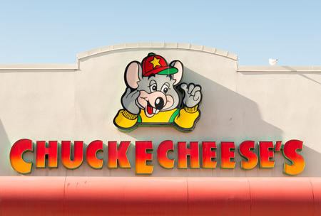TORONTO,CANADA-APRIL 4,2015: Chuck E Cheese entrance. Chuck E. Cheese's is a chain of American family entertainment center restaurants. The chain is the primary brand of CEC Entertainment, Inc.