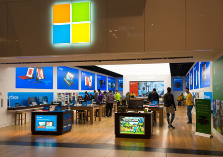 electronic store: Microsoft Corporation opens its first store in Toronto inside the Eaton Centre which is one of the largest malls in Canada