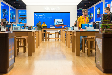 microsoft: Microsoft Corporation opens its first store in Toronto inside the Eaton Centre which is one of the largest malls in Canada