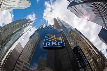 Royal Bank of Canada sign at the entrance of the company tower in Downtown Toronto, the bank is the largest financial institution with about 18 million clients