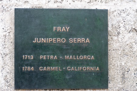 western script: Historic plaque to Junipero Serra in Old Havana Junipero Serra Ferrer was a Spanish Franciscan friar who founded a missions in the Americas he has been proposed for canonization by the Pope Francis.