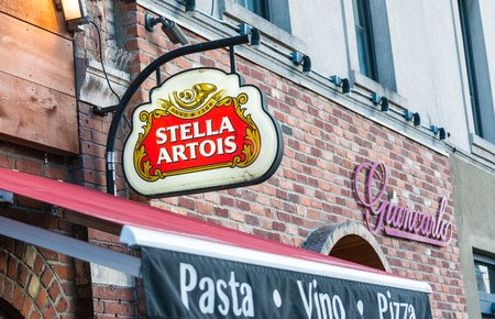 Stella Artois advertisement sign in Little Italy Stella Artois informally called Stella is a pilsner beer of between 4.8 and 5.2 ABV which has been brewed in Leuven Belgium since 1926 although it is also brewed in other locations. Banco de Imagens - 40484979