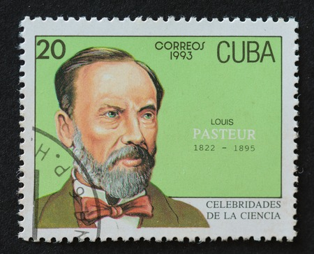 theorist: Cuban postal stamp of Correos 1993 series depicting the image of scientist Louis Pasteur. Editorial