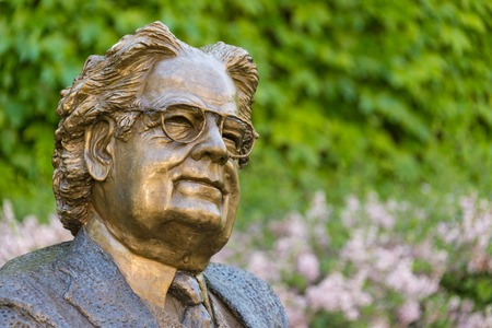 critic: Close-up of Statue of literary critic Northrop Frye at Victoria College, University of Toronto. Herman Northrop Frye was a Canadian literary critic and literary theorist.