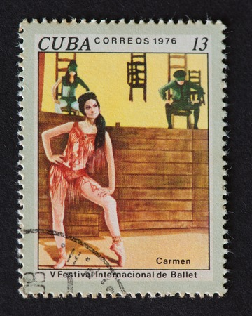 theorist: A stamp printed in Cuba, shows V Festival International de Ballet, circa 1976