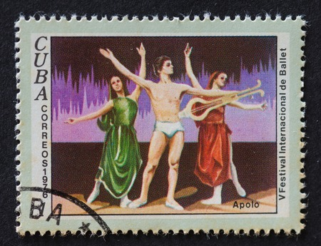 theorist: A stamp printed in Cuba, dedicated to the International Ballet Festival, shows a scene from the ballet Apollo, circa 1976 Editorial