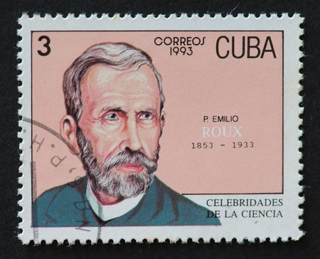 theorist: Cuban postal stamp of Correos 1993 series depicting the image of scientist Emilio Roux.