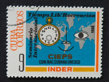 theorist: Stamp printed in the Cuba shows International Leisure Time & Recreation Seminar (Cuban National Commission for UNESCO).