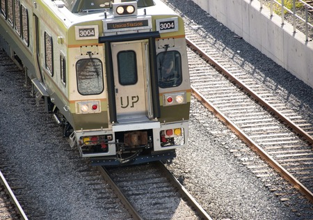 up service: Up service: Union Pearson Express passenger train on the track in Toronto.UP Express is a passenger train service in the Greater Toronto Area, running between Canadas two busiest transportation hubs, Union Station in Downtown Toronto, and Toronto Pearson