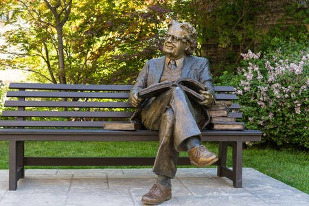 theorist: Statue of literary critic Northrop Frye on a park bench at Victoria College, University of Toronto. Herman Northrop Frye was a Canadian literary critic and literary theorist, considered one of the most influential of the 20th century.