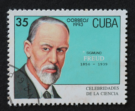 Cuban postal stamp of Correos 1993 series depicting the image of psychologist Sigmund Freud. Editorial