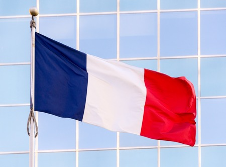 tricolour: National flag of France. It is a tricolour flag featuring three vertical bands of royal blue, white, and red with royal blue color at the host side.