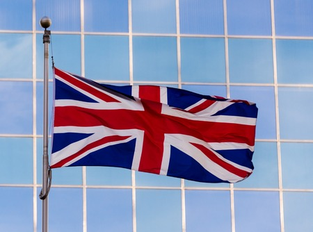 british culture: National flag of United Kingdom. It is a superimposition of the flags of England and Scotland with the Saint Patricks Saltire representing Ireland. Stock Photo